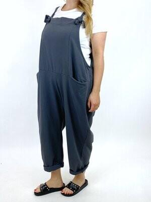 LAGENLOOK HARMONY PLAIN MADE IN ITALY DUNGAREES IN CHARCOAL
