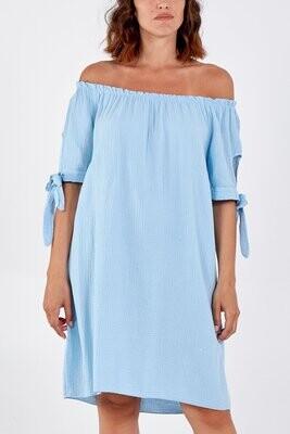 Bardot Tie Sleeve Mini Dress