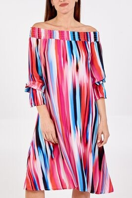 Off The Shoulder Stripe Abstract Midi Dress