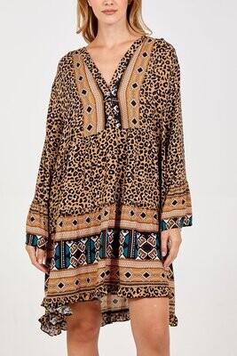 Boho Leopard Print Tiered Pattern Long Sleeve Dress Camel