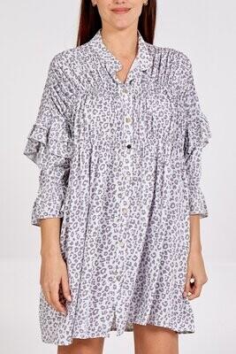 Leopard Small Print Ruffle Sleeve Button Up Smock Dress