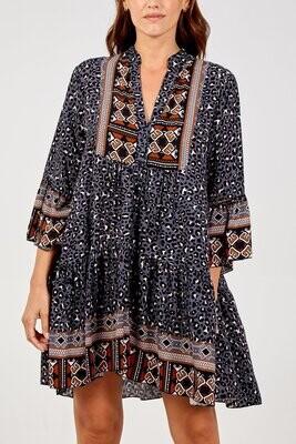 Boho Leopard Print Tiered Mock Dress Grey