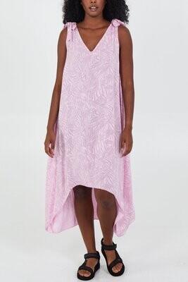Palm Leaf Print Tie Shoulder High Low Dress Pink