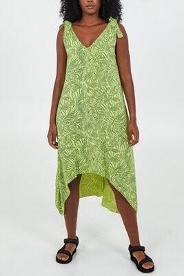 Palm Leaf Print Tie Shoulder High Low Dress Lime