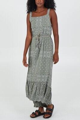 Paisley Print Square Neck Belt Dress  Khaki