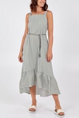 Nova of London Stripe Square Neck Tassel Belt Dress