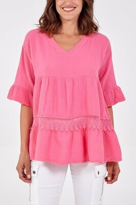 V-Neck Tiered Frill Sleeved Cheesecloth Top