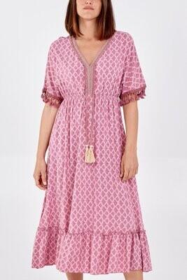 Tassel Detail Frill Hem Midi Dress