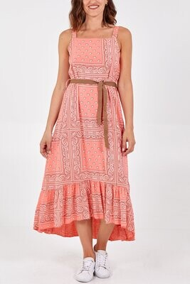 Paisley Print Square Neck Belt Dress Coral