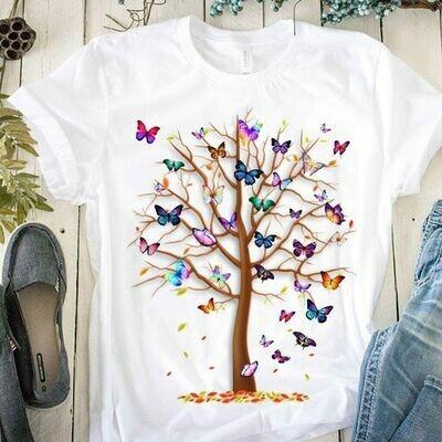 Woman Butterfly Tree Print Harajuku Summer Tshirts Casual Round Neck Short Slee Top Tee
