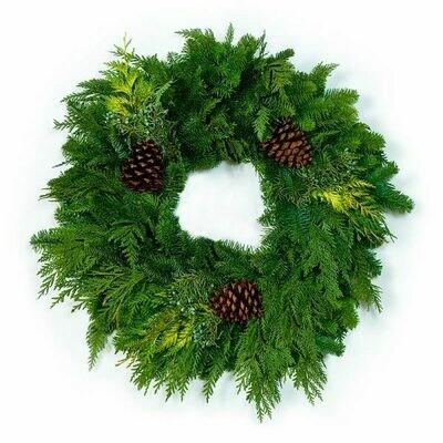 "26"" Rustic Cedar & Noble Fir Wreath"