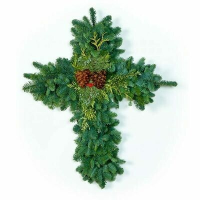 """28"""" Deluxe Cross Wreath"""