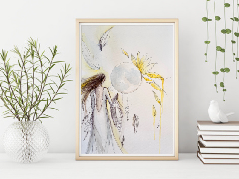 Fine Art Giclée Print -  Feathers and Sunflower Goddess