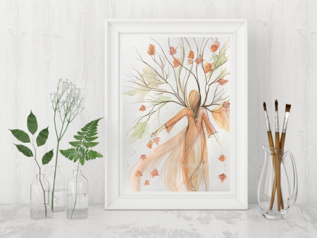 Fine Art Giclée Print -Autumn Tree Goddess