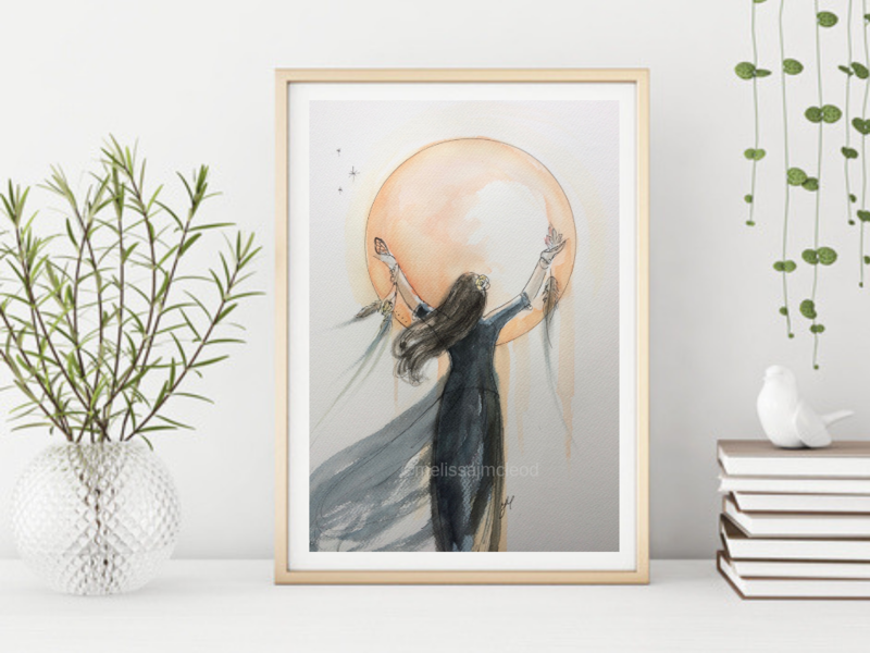 Moon Goddess -Signed Giclée Print A4