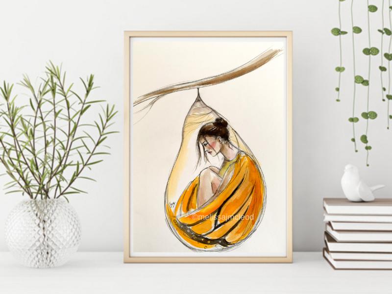 Fine Art Giclée Print -Butterfly Chrysalis Goddess