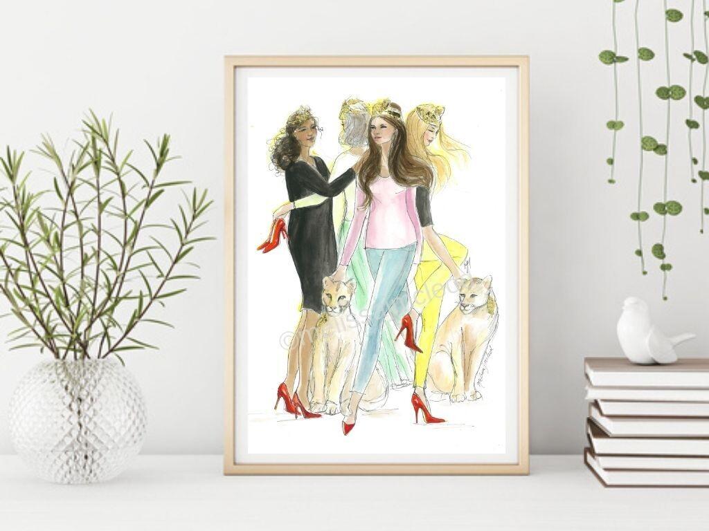 Queens of Hearts & Heels (Unframed)A4 Fine Art Print (21cmx30cm)