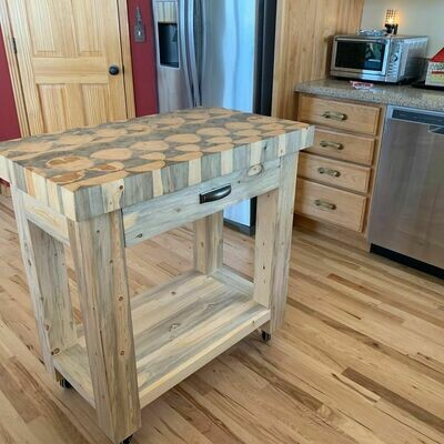 Beetle Kill Butcher Block Island -With Drawer & Casters