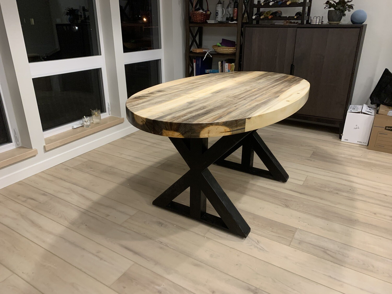 Oval Glacier Beetle Kill Dining Table