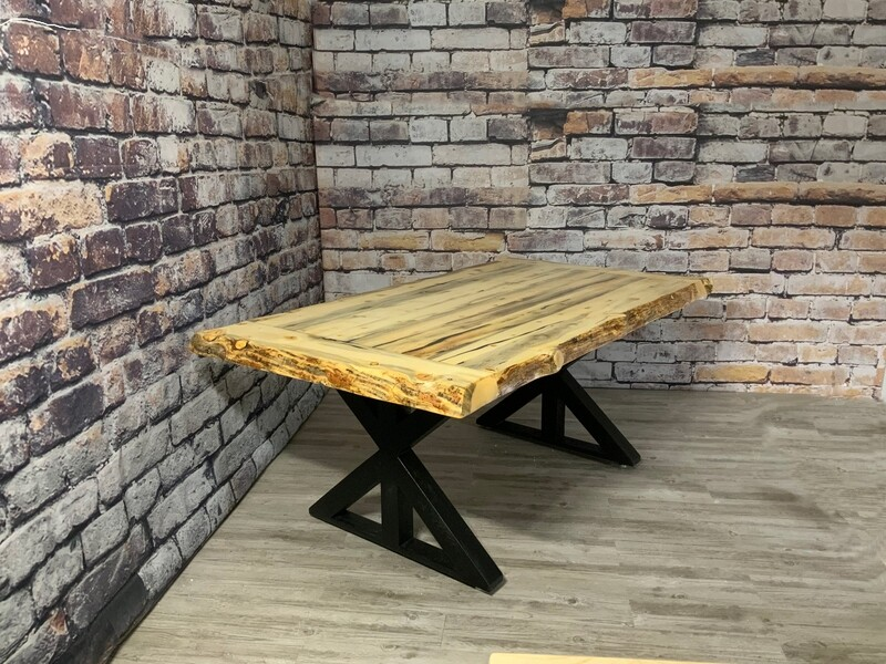 Live Edge Glacier Beetle Pine Dining Table