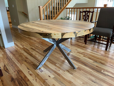 """Custom Order (MR) Cathedral Round Dining Table 60"""" Round With Brushed Steel Base"""