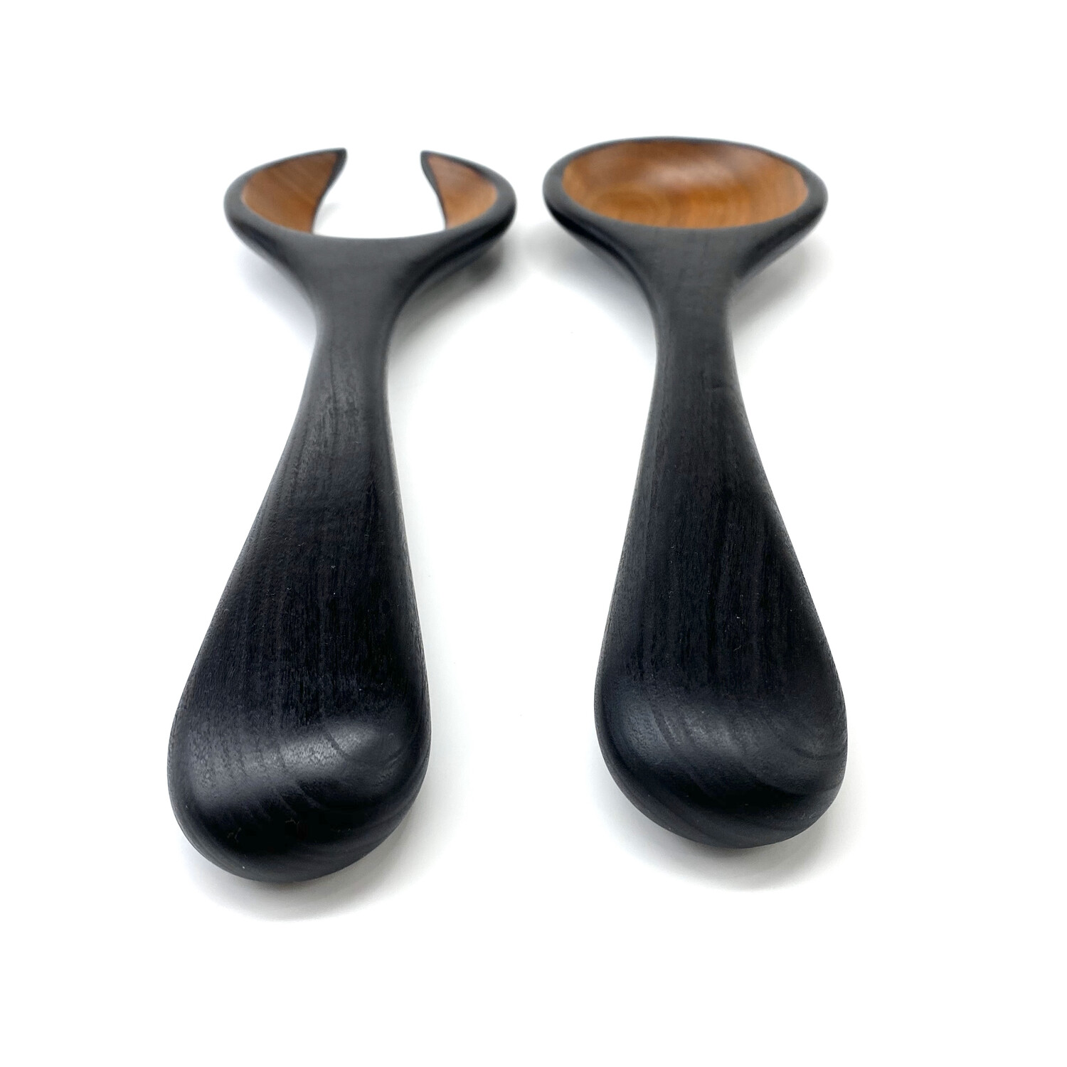Sculpted Reverse Blackened Cherry Serving Spoons