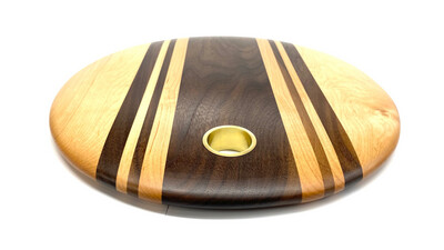 Round Sculpted Black Walnut and Maple Serving Board