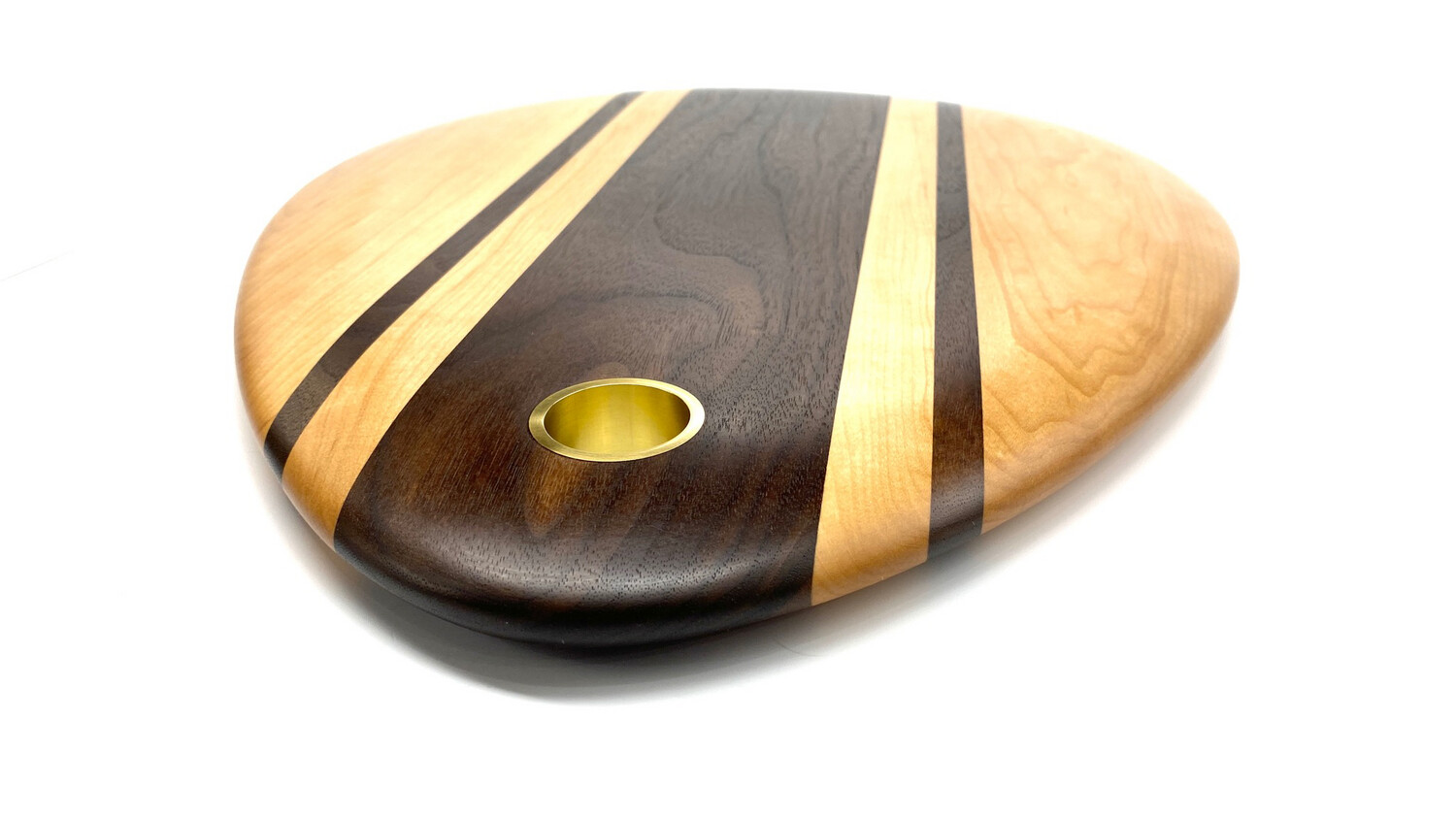 Oval Sculpted Black Walnut and Maple Serving Board