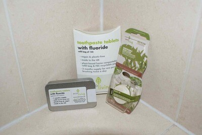 Refillable Tin + 62 Toothpaste Tablets by eco Living with Fluoride