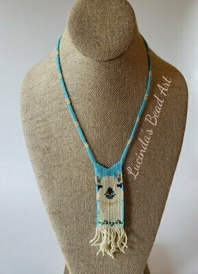 La La Llama Necklace - Rainbow cream and blue