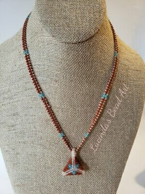 Peyote Triangle Necklace in Brown, Blue, and Light Peach