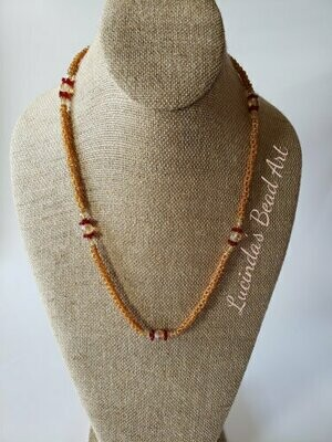Woven Seed Bead Necklace - Topaz and Red