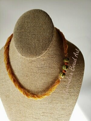Tree Frog Seed Bead Necklace in Topaz, Golds, Brown and Green