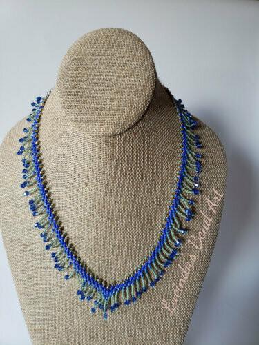 Dainty Blue Fringe Necklace
