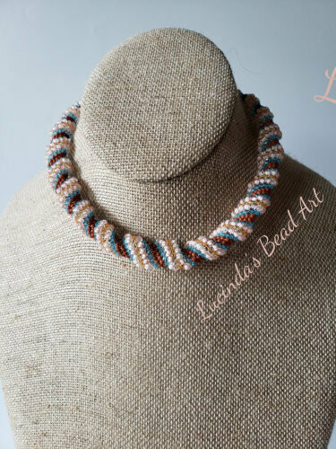 Spiral Choker in Blue, Pink, Brick and Amber