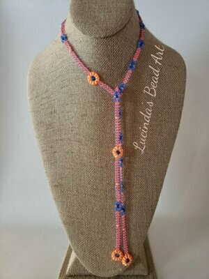Lariat Necklace in Bright Orange and Blue