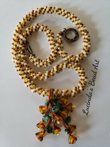 Spiral Seed Bead Necklace in Terracotta and Yellows
