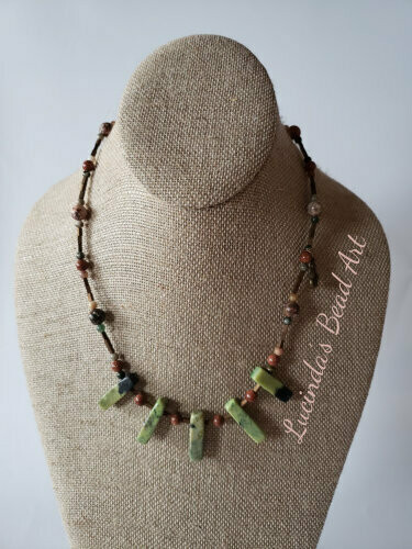 Green and Brown Chrysoprase Stick Beaded Necklace