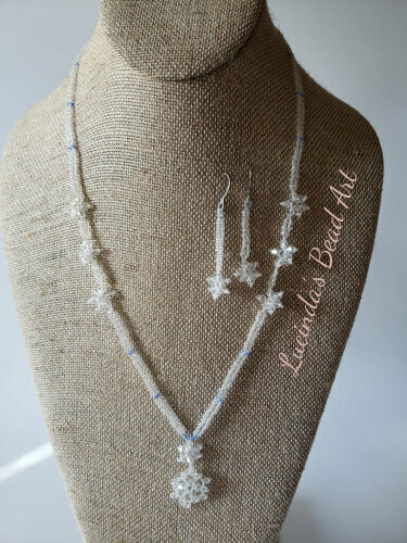 Snowflakes Seed Bead Necklace in Ice Clear and Blue