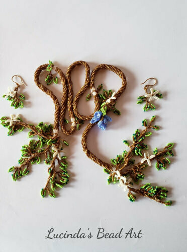 Woodland Seed Bead Lariat with Dangling Leaves