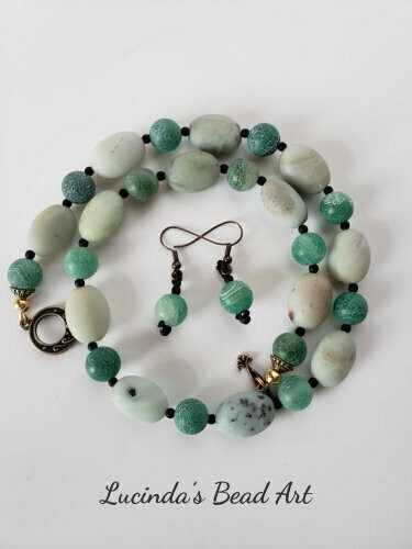 Amazonite and Agate Necklace Set