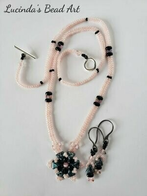Pink, Black and Silver-Green Necklace Set