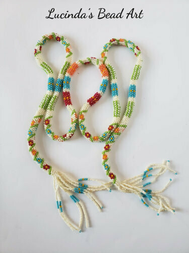 Tubular Multicolored Lariat with Flowers