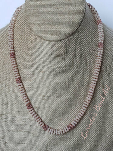 Pink and Ivory Netted Necklace with Swallow