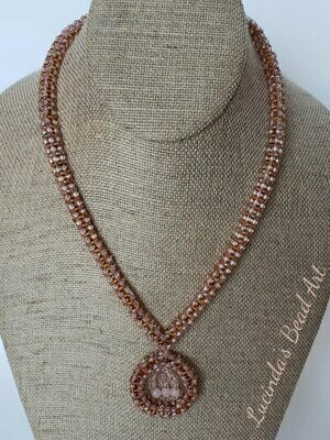 Pink/Peach, Topaz and Rose Cubic Weave Necklace