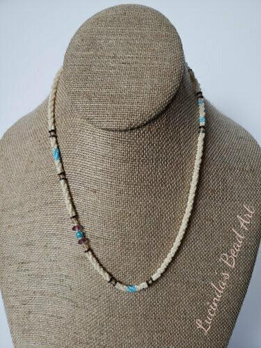 Ivory, Blue, Purpley Necklace