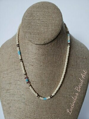 Ivory, Blue, Purpley Necklace