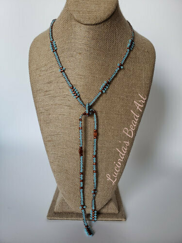 Copper and Blue Lariat