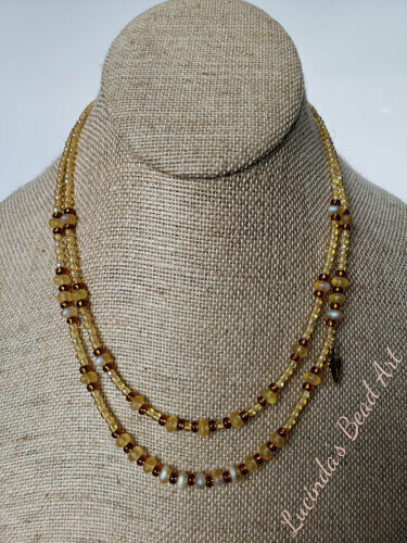 Light and Dark Topaz Two Strand Necklace