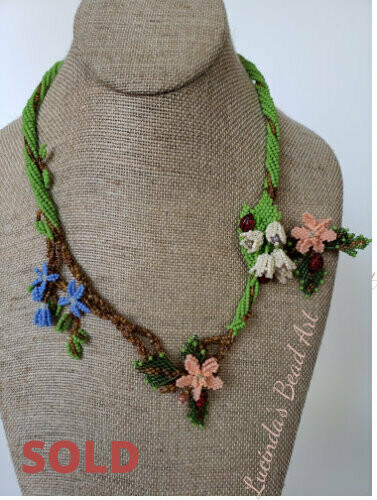 Woven  Flowers and Ladybug Necklace  with   Brooch